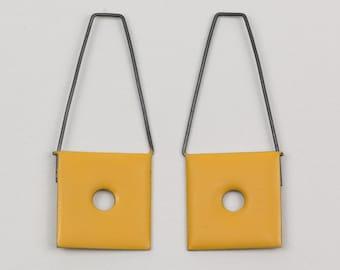 Yellow, geometric hook earrings. Labels series. Sterling silver, brass, enamel. Ready to ship.