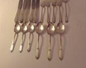 1937 Rogers Flatware / Eating Utensils Wm Rogers IS Silver Plate Cotallion Flatware 16 Pieces