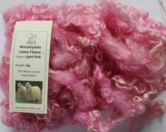 Wensleydale Loose Fibre Light Pink for Spinning and Crafts 50g