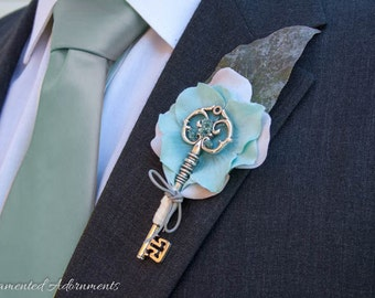 Light Blue/Teal Key Themed Boutonniere - Metal, Victorian Inspired, Wedding, Groom, Groomsmen, Prom, Corsage