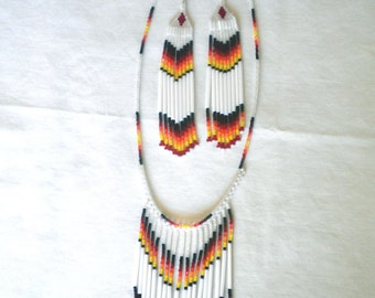 White Fire Colored Necklace and Earring Set