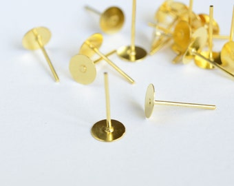 Gold Earring Blanks, 6 mm Pad, 11 mm long - 60 pieces (FG-008)