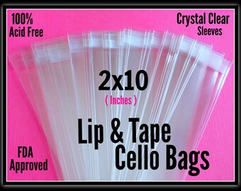 100 ( 2x10 ) Lip & Tape Cello Bags, Cello Bags 2x10, Adhesive 2x10 Cello Bags, Candy Gift Bags 2x10