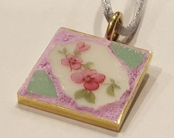 Pink Rose China Mosaic Pendant with Green Smalti