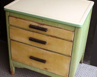 Antique Vintage Metal Porcelain Wood Wooden Kitchen Table Cabinet Nightstand Bed