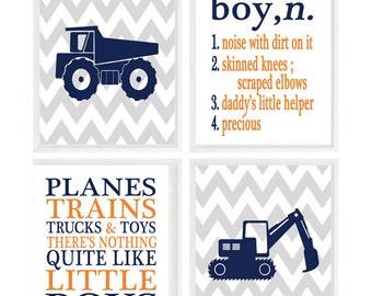 Truck Nursery Art, Boy Definition, Noise With Dirt On It, Planes Trains Trucks and Toys, Orange, Navy Blue, Gray, Baby Boy Nursery, Chevron