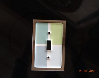 Single toggle switch plate covers, green and blue squares with nickel surround, 2 total