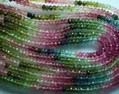 5 x 14 Inch-Super-FINEST- Multi Tourmaline Faceted Rondelles Large 4-4.5mm full 14 inch strand,Super Finest Quality