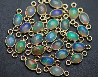 925 Sterling Vermeil Silver, Ethiopian Opal Oval Pendant Connector,2 Piece of 12mm