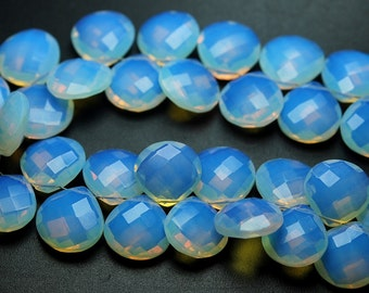 4 pcs,Super Finest,OPAL BLUE FIRE Quartz Faceted Briolette Heart,14mm