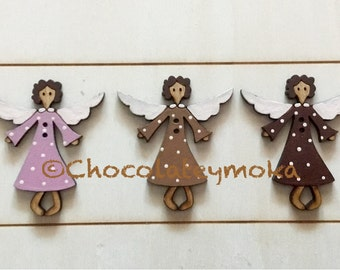 """3 Wooden Decorative Buttons """"Angels"""" with  polka dots dress"""