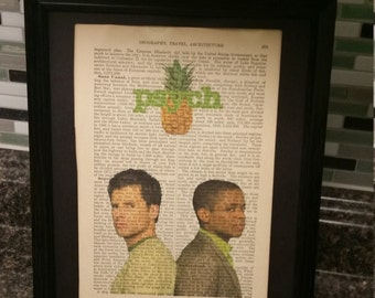 Psych- TV show- Antique Dictionary Art- Shawn and Gus Photo
