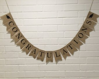 CONGRATULATIONS Burlap Banner, Graduation Banner, Class of 2017 Banner, Graduation Party Decor, Graduation Banner, Graduation Announcement
