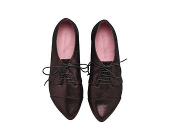 Special limited Edition! Purple Shine oxford leather shoes / Polly Jean flat leather women's shoes