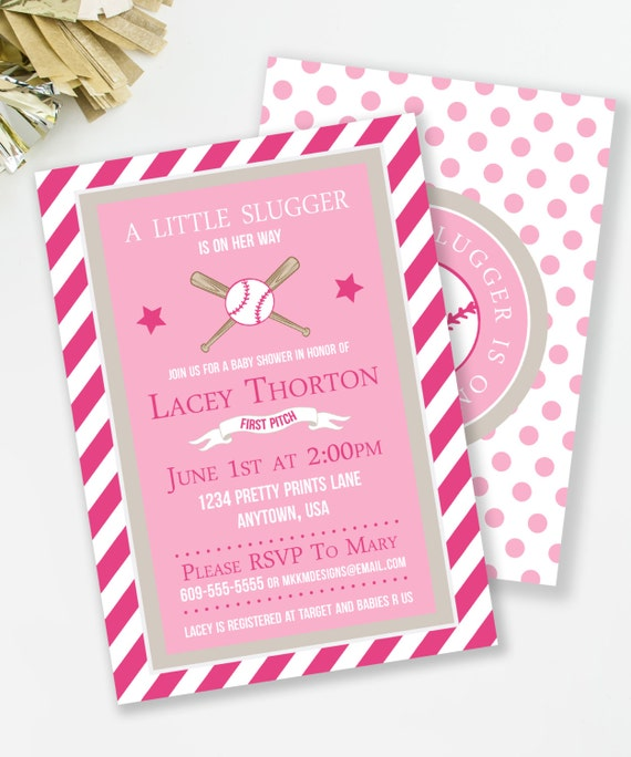 Little Slugger Baby Shower Invitation Baseball Baby Shower Pink