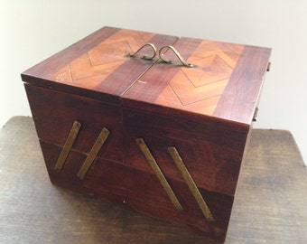 Soviet sewing box Wooden sewing supplies box Sewing Storage Box USSR era 70s