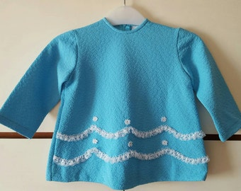 1960s 1970s Original Vintage Girls Dress Turquoise and white lace Modette  (4895)