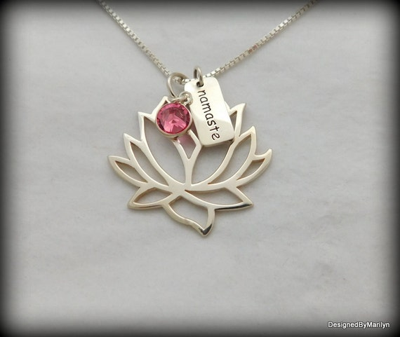 Lotus necklace, Yoga necklace, meditation jewelry, sterling silver necklace, lotus blossom