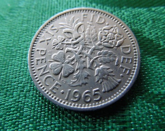 1965 Sixpence Coin From Great Britain - Wedding Sixpence, British Good Luck Charm, Birth Year Six Pence, 6d - Priced Per Coin