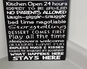 Grammy's House Rules, Typography, Hand Painted Wood Sign, Home Decor, Grandparents, Personalize