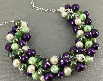 Dark Purple and Green Necklace, Pearl Necklace, Bridesmaids Gift, Cluster Necklace, Chunky Necklace, Bridal Necklace, Mother of Bride