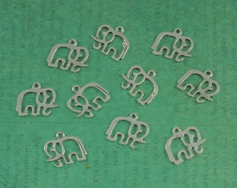 Silver Elephant Outline Charm - Package of 10