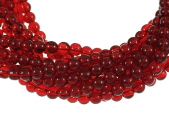 Clear Deep Garnet Red 8mm Round Glass Beads - Full 16 inch strand - Approximately 54 beads