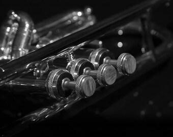 Trumpet keys wall art, fine art photography, black and white, wall art, black and white print, light paint, acoustic, strings, music