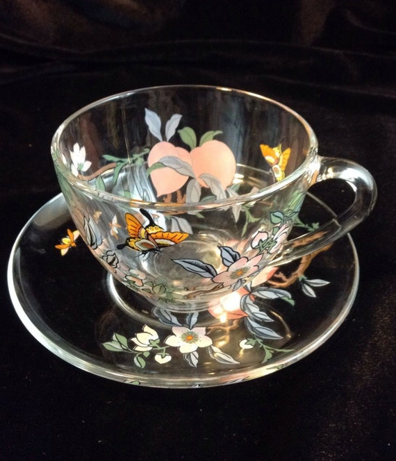 Arcoroc Floral Glass Tea Cup and Saucer, Butterflies and Flowers, Handpainted