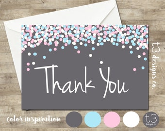 Confetti Gender Reveal thank you card, gender reveal thank you, boy or girl thank you,confetti, gender reveal