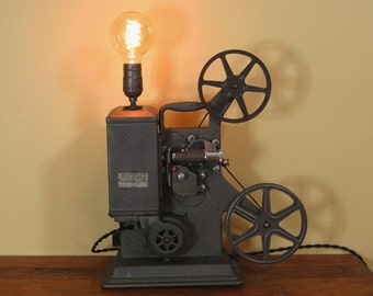Repurposed Industrial Machine Age Steampunk Vintage Keystone 8mm Projector Table Lamp
