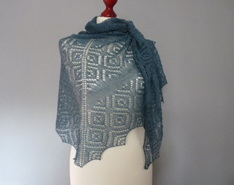 SALE 20%- Hand knitted lace shawl, Blue baby alpacal/silk lace shawl, Lace pattern