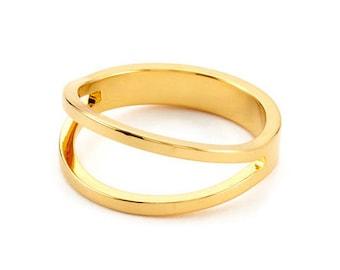 Split Ring, Gold Ring, Stack Ring, Thin Ring