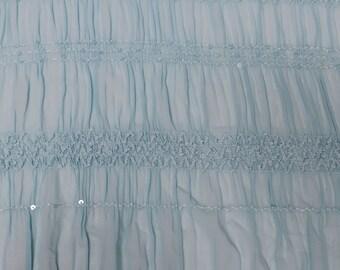 Aqua Chiffon Stretch Sequin Fabric by the yard Style 8069