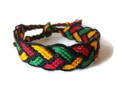 Friendship Bracelet, Macrame, Woven Bracelet, Wristband, Knotted Bracelet - Black Green Yellow Red Jamaica Braided Bracelet