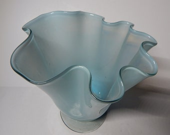 Frilly, Wavy,  Aqua blue-coloured Glass Vase, Home Decor, 12x8 approximtely, MOTHER'S DAY