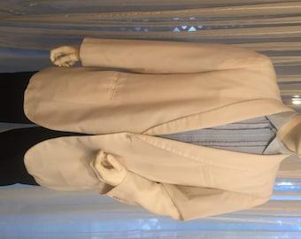 Vintage White Cotton Blend Dinner Jacket, ca 1950s