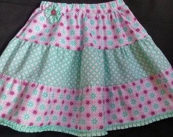 Girls skirt, girls tiered skirt, sister skirt, girls print skirt