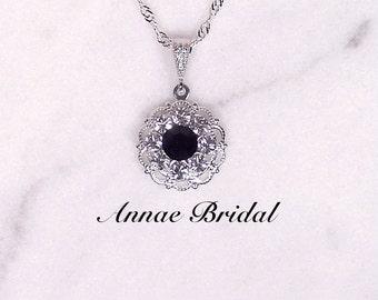 "Black crystal and rhinestone pendant necklace, silver, Swarovski, Bridal, wedding, bridesmaid, ""Crystal & Lace"" necklace"