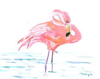 Flamingo, 14 X 11 in, original watercolor painting