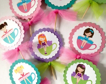Ballerina Tea Cupcake Toppers