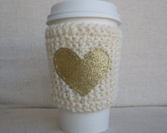 Ivory Coffee Cozy with Gold Glitter Heart, Mug Sweater, Coffee Cozy, Cup Cozy, Coffee Sleeve, Mug Cozy