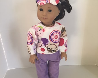 Pajamas, Sleeping Mask, American Girl Doll - Monkeys