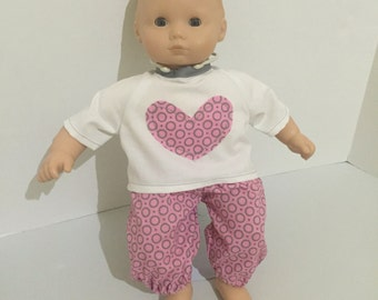 Bitty Baby Outfit - Doll Clothes - 15 Inch Doll Top and Pants - Hearts