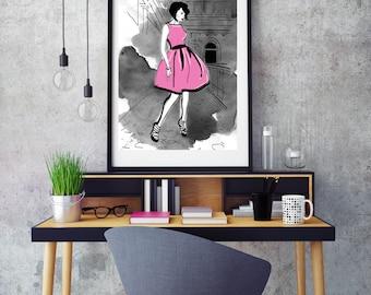 Pink Penelope, Fashion Illustration, print, poster