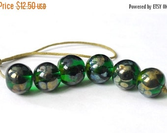 ON SALE Golden Green 6 Handmade Lampwork Beads