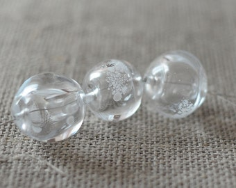 Handmade Glass Lampwork Beads - Hollow Transparent Beads