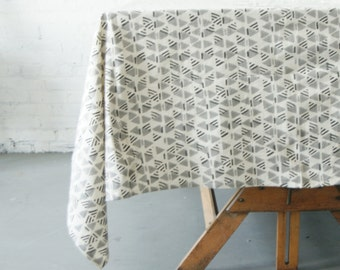 Cotton Block Print Tablecloth- Grey Triangle Geometric