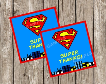 Superman Favor Tags | Superman Birthday Party | Superhero Party | DIY Printable - Instant Download