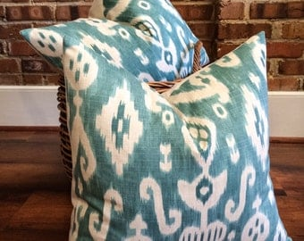 """Turquoise, Aqua Ikat Pillow- Turquoise Blue and Cream Ikat Designer Pillow Cover- Accent Pillow- Throw Pillow- Holds 22"""" Insert"""